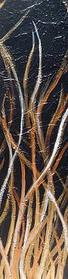 Whispering Reeds Abstract Triptych Paintings Art Print by Holly Anderson