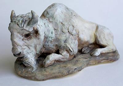 White Buffalo-sculpture Art Print by Derrick Higgins