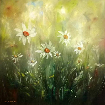 Painting - White Daisies by Gina De Gorna