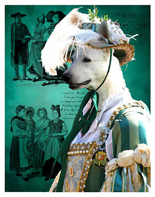 Painting - White German Shepherd - Berger Blanc Suisse Art Canvas Print by Sandra Sij