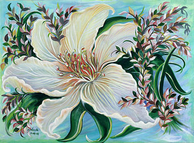 Art Print featuring the painting White Lily by Yolanda Rodriguez