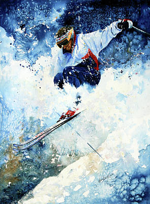 Skiing Action Painting - White Magic by Hanne Lore Koehler