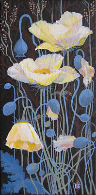 White Poppies Art Print by Marina Gnetetsky