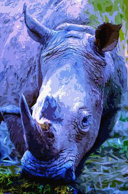 One Horned Rhino Digital Art - Rhinoceros by Brian Stevens