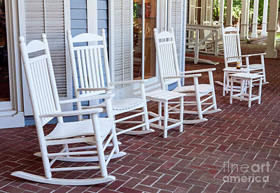 Rocking Chairs Photograph - White Rockin Chairs by Iris Richardson