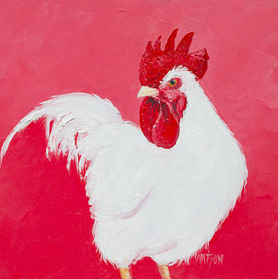 Birds Painting Rights Managed Images - White Rooster Royalty-Free Image by Jan Matson