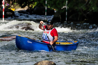 Photograph - Whitewater Canoe Paddler - Stylized by Les Palenik