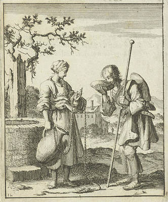 Water Jars Drawing - Wife Gives A Pilgrim Water From A Jug, Jan Luyken by Jan Luyken And Pieter Arentsz (ii)