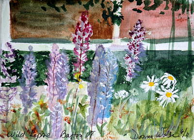 Painting - Wild Lupine In Barton Vermont by Donna Walsh