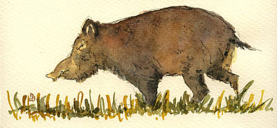Pig Wall Art - Painting - Wild Pig by Juan  Bosco