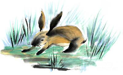 Zazen Painting - Wild Rabbit by Ellen Miffitt