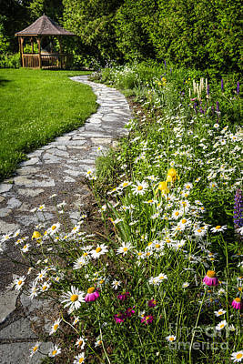 Wildflower Garden And Path To Gazebo Art Print by Elena Elisseeva