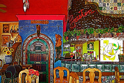 Montreal Restaurants Digital Art - Wildly Decorated Friendly Dolphin Restaurant In Puerto Penasco-sonora  by Ruth Hager