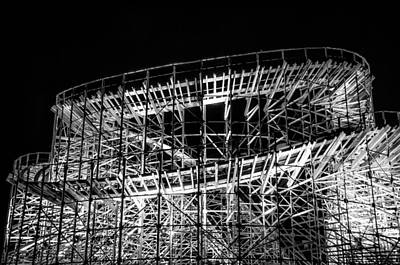 Rollercoaster Digital Art - Wildwood Roller Coaster At Night In Black And White by Bill Cannon