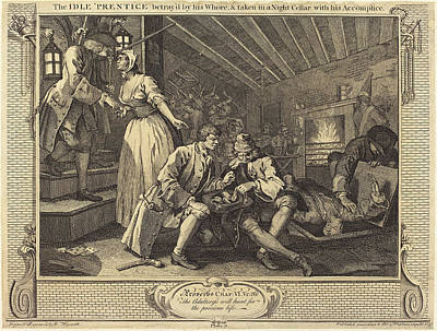 Accomplice Drawing - William Hogarth English, 1697 - 1764, The Idle Prentice by Quint Lox
