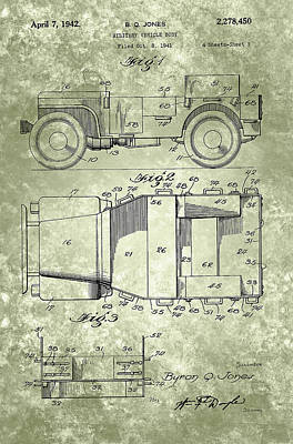 Inventions Painting - Willys Military Jeep Patent From 1942 by Adam Asar