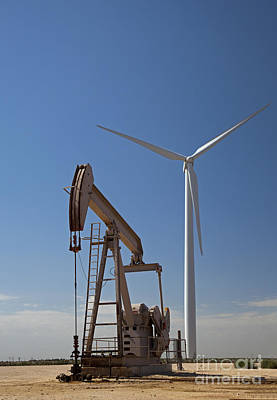 Art History Meets Fashion Rights Managed Images - Wind Turbine and Oil Well Royalty-Free Image by Jim West