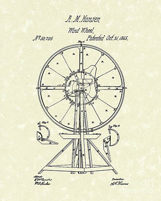 Drawing - Wind Wheel 1865 Patent Art by Prior Art Design