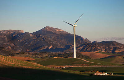 Farmscapes Photograph - Windfarm Amidst Farmland Near Ardales by Panoramic Images
