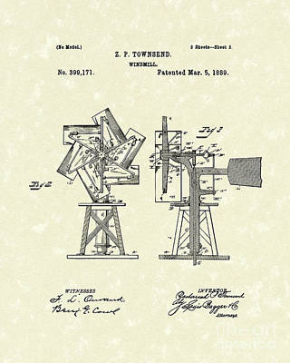 Drawing - Windmill 1889 Patent Art by Prior Art Design
