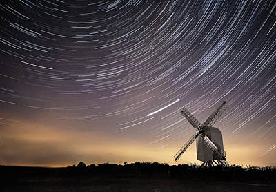 Wind Mills Photograph - Windmill On A Starry Night. by Ian Hufton