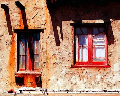 Photograph - Windows Of The Yerxa Adobe by Timothy Bulone