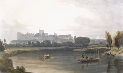 River View Drawing - Windsor Castle From The River Thames by William Daniell