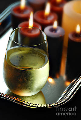Wine And Candles Art Print