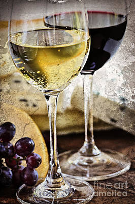 Still Life Royalty-Free and Rights-Managed Images - Wine and cheese by Elena Elisseeva