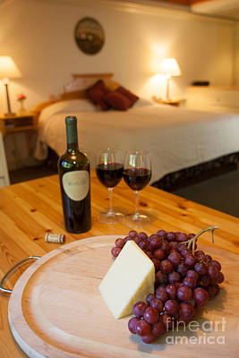 Photograph - Wine And Cheese In A Luxurious Hotel Room. by Don Landwehrle