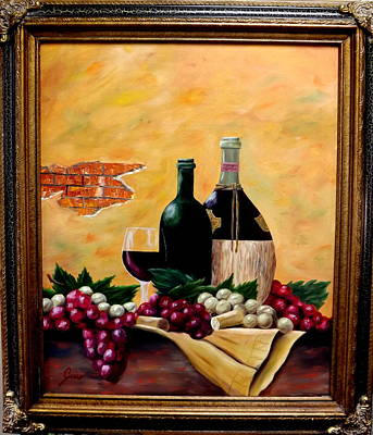 Wine And Grapes Art Print by Gino Didio