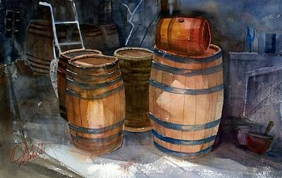 Painting - Wine Barrels by Gerald Miraldi
