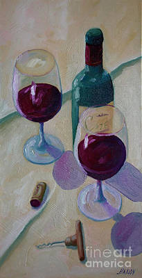 Wine Bottle Still Life  Art Print