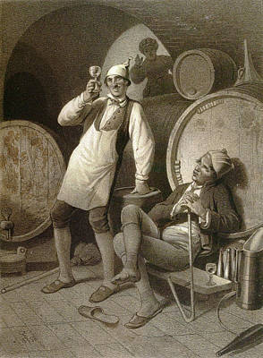 Wine Cellar, Drinking A Glass Of Wine, Two Men, Wine Art Print by English School