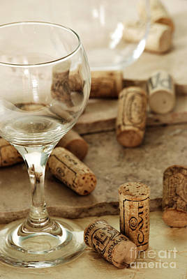 Wine Glass And Corks Art Print by HD Connelly