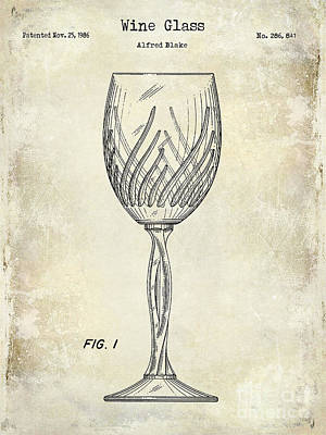 Wine Glass Patent Drawing Art Print by Jon Neidert