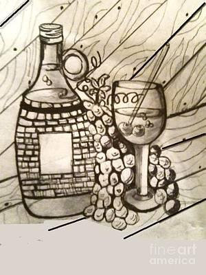 Glass Of Wine Mixed Media - Wine O Wine by Stephan  Rowland