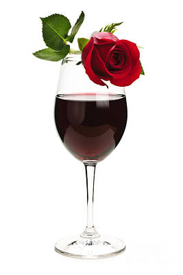 Wine With Red Rose Art Print by Elena Elisseeva