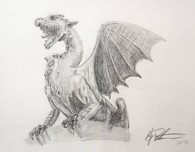 Swooping Drawing - Winged Dragon by Greg Peterson