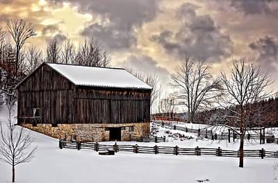 Black Metal Fence Photograph - Winter Barn  by Steve Harrington