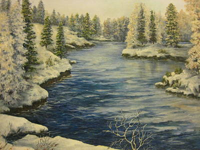 Babbling Brook Painting - Winter Blues by Carol Bitz