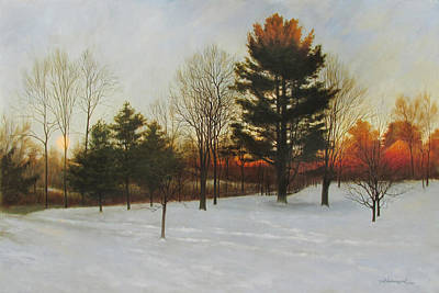 Moon Rise Painting - Winter Evening North Grafton by David Henderson