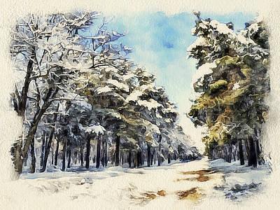 Building Exterior Digital Art - Winter Forest Landscape 37 by Yury Malkov