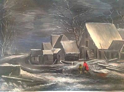 Winter Landscape Art Print by Egidio Graziani