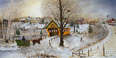 Covered Bridge Painting - Winter Memories by Doug Kreuger
