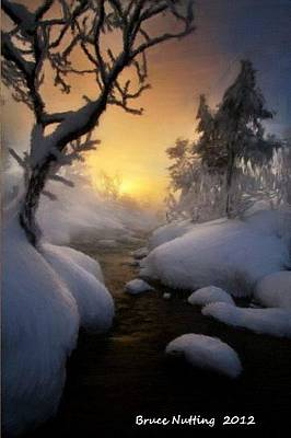 Snow Painting - Winter Morning Sunrise by Bruce Nutting