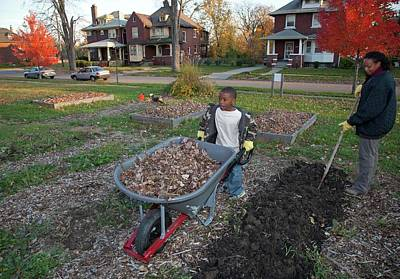 Pre-teen Photograph - Winter Mulching In A Community Garden by Jim West