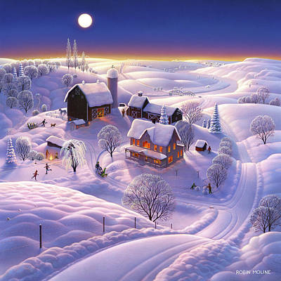 Folk Painting - Winter On The Farm by Robin Moline