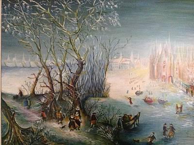 Winter Scene Art Print by Egidio Graziani