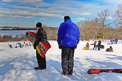 Photograph - Winter Sledding by Ann Murphy